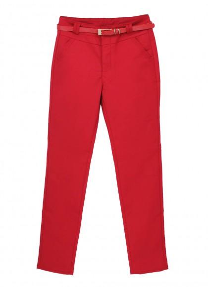 Pantaloni rosii marime mare eleganta cu curea