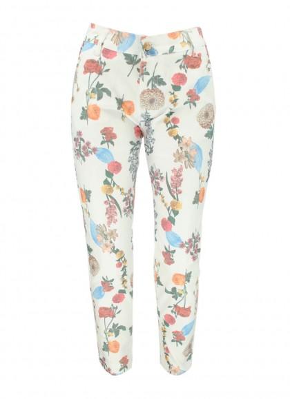Pantaloni dama albi cu motiv floral de vara