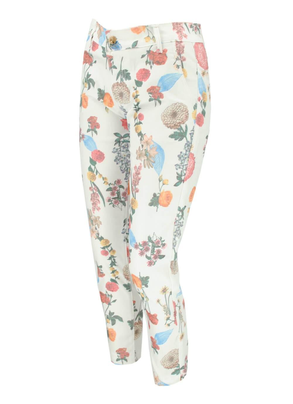 neted design rafinat Pantofi 2018 Pantaloni dama albi cu motiv floral de vara pereche moderna model chic