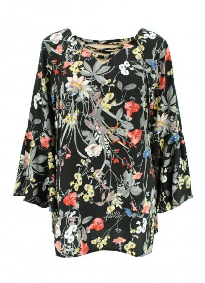 Bluza dama marime mare cu motiv floral de toamna