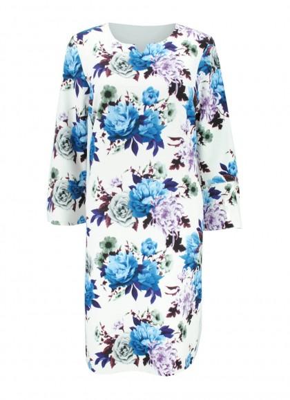 Rochie alba cu trandafiri albastrii