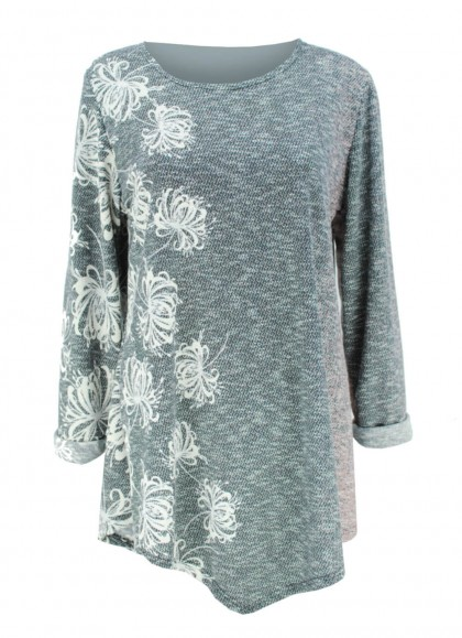 Bluza dama marime mare gri cu motiv floral