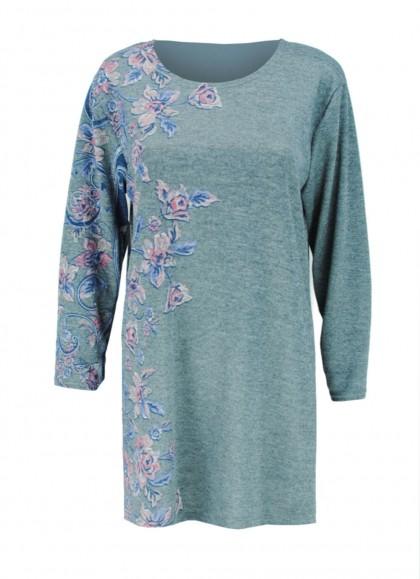 Bluza dama marime mare gri cu trandafiri stilizati