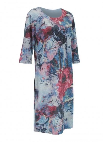 Rochie cu maneca trei sferturi si imprimeu multicolor