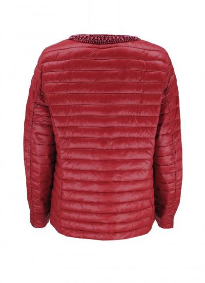 Jacheta dama fas cu margele la decolteu rosu