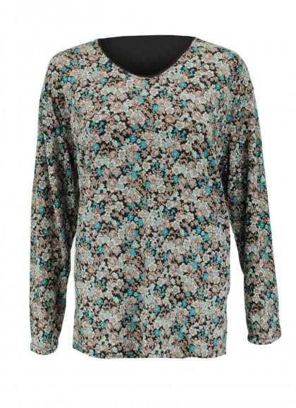 Bluza dama cu maneca lunga si imprimeu cu flori albastre