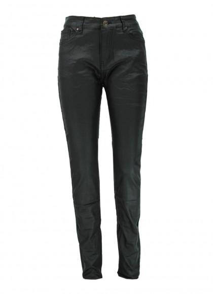 pantaloni dama din piele ecologica negrii