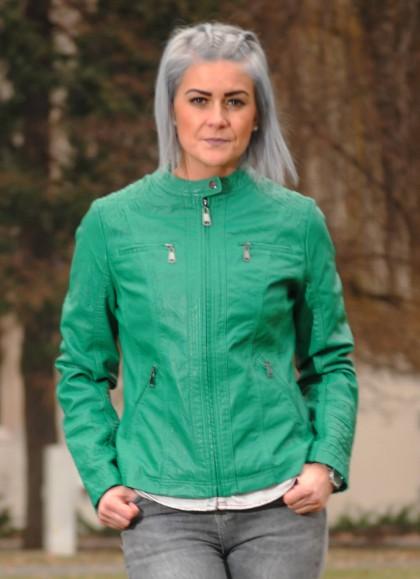 Jacheta dama din piele ecologica verde smaragd