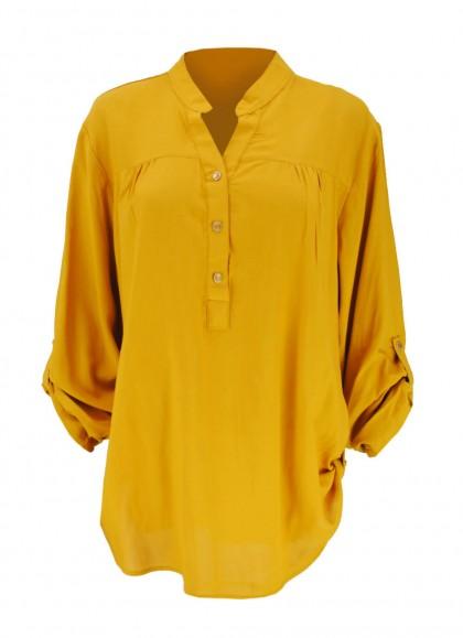 Camasa marime mare culoare galben-mustar