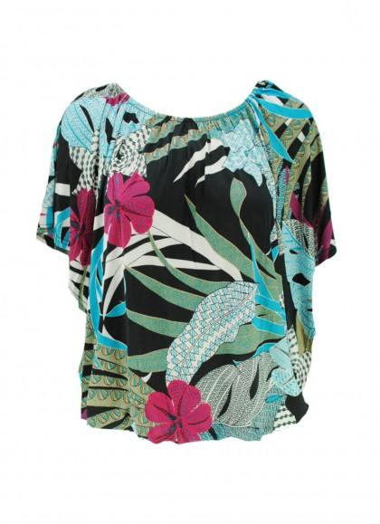 Bluza dama marime mare cu motiv Hawaian