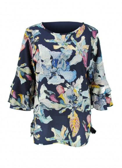 Bluza dama marime mare cu imprimeu exotic