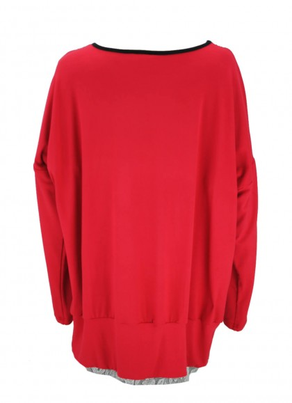 Bluza dama marime mare rosu aprins cu imprimeu