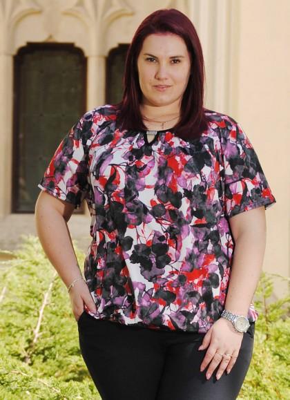 Bluza dama marime mare cu motiv floral