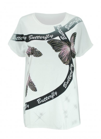 Tricou dama marime mare cu imprimeu fluturi