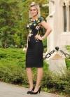 Rochie neagra cu motiv floral coloat
