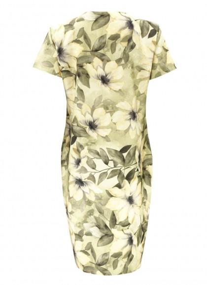 Rochie cu motiv floral magnolia pastelat