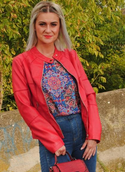 Jacheta dama rosie din petice casual