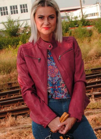 Jacheta dama bordo clasic din piele ecologica