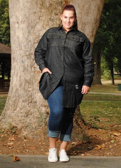 Camasa dama blugi plus size negru