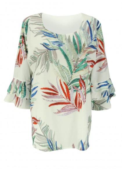 Bluza dama cu motiv floral plus size